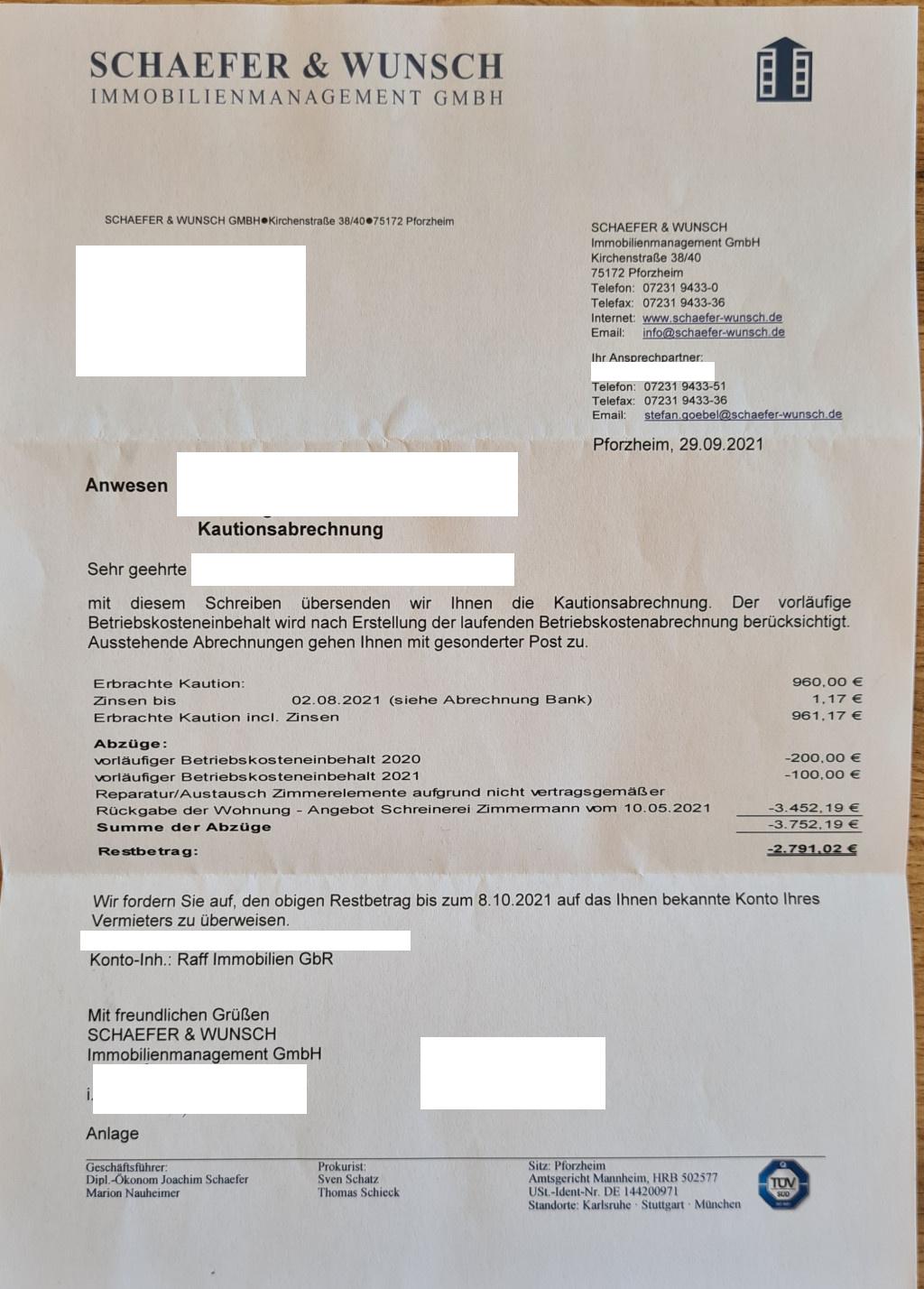 Schaefer und Wunsch Immobilien aus Pforzheim Rechnung über fast 4000€ nach Auszug